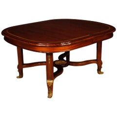 20th Century Mahogany, Maple, Fruitwood French Dining Leaf Table, 1920