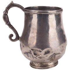 18th Century Colonial Silver Dented Jug with Engraved Initials