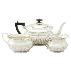 Antique Edwardian Sterling Silver Three-Piece Tea Service