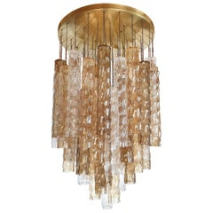 Large Mid-Century Modern Bamboo Murano Glass/Brass Flush Mount by Mazzega