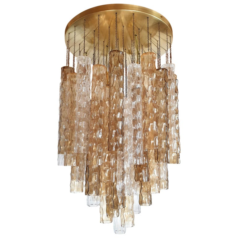 Large Mid-Century Modern Bamboo Murano Glass/Brass Flush Mount by Mazzega For Sale