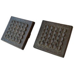 1960s Brutalist Pair of Bronze Push and Pull Door Handles with Geometric Relief