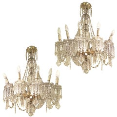 Early 20th Century Pair of Bohemian Crystal Ten-Light Chandeliers