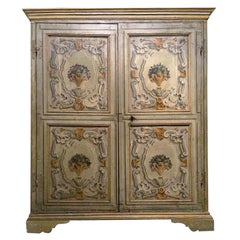 18th Century Louis XIV Italian Painted Wooden Wardrobe