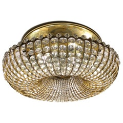 Pair of Gilt Metal and Crystal Flush Mount Fixtures, Sold Individually