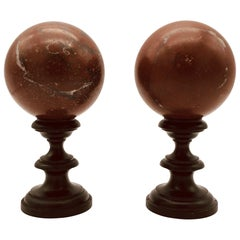 20th Century Italian Pair of Red Griotte Marble Sculpture Grand Tour Balls