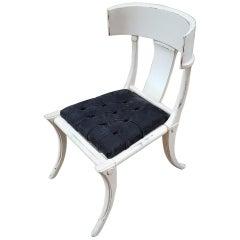Klismos Walnut Wood Customizable Dining Chairs Italian Production, Black Leather