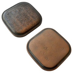 1970s Bronze Pair of Square Push and Pull Door Handles with Rounded Corners