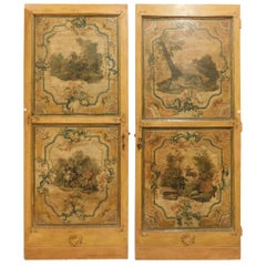 Pair of Antique Doors, 1700, Italy, Wood, Lacquered, Hand Painted, Bilateral