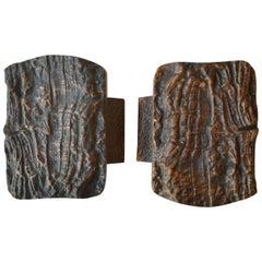1970s Brutalist Pair of Bronze Push & Pull Door Handles with Relief from Nature