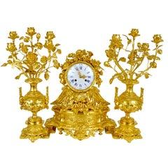 French Ormulu Gilt Bronze Mantle Clock Napoleon III, 19th Century Demeur