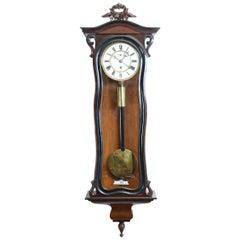 Walnut Frame Case Glass One Weight Regulator Wall Clock