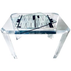 Lucite Backgammon Table with Glass Cover