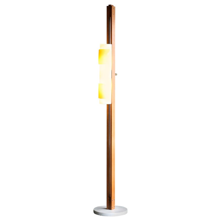 Mahogany and Carrara Marble Floor Lamp For Sale