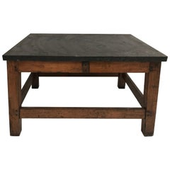 French Industrial Table with Bluestone Top