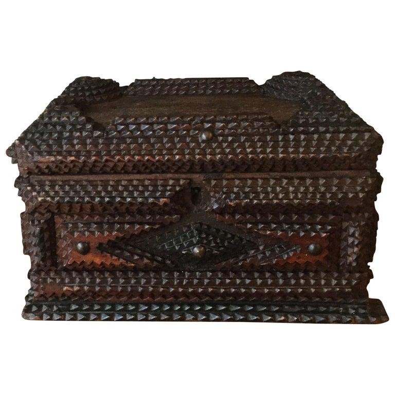 Folk Art 19th Century French Tramp Box For Sale