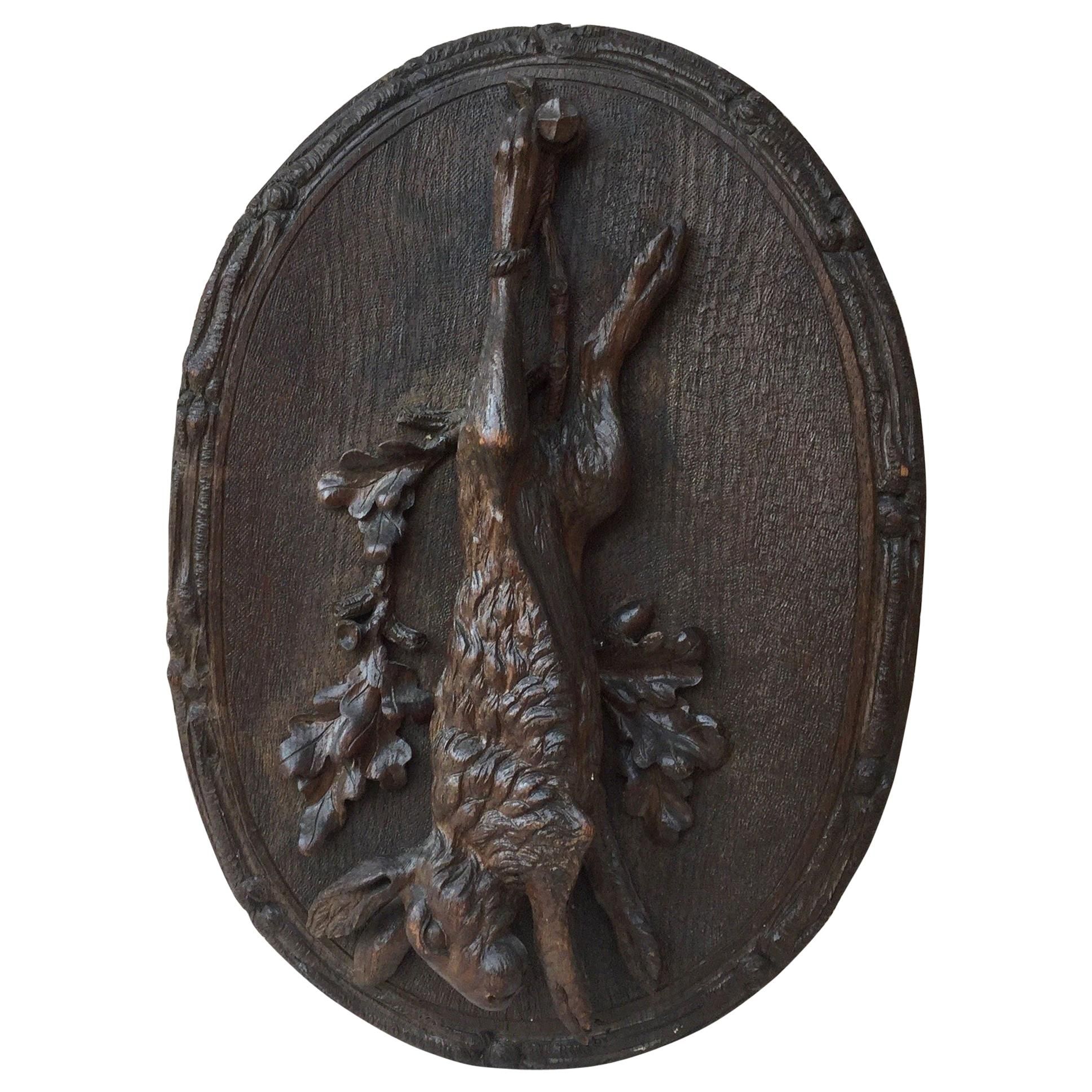 Black Forest Hare Wall Plaque, circa 1880