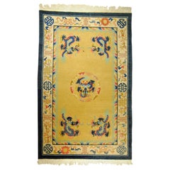20th Century Yellow and Blue Wool Hand Knotted Chinese Dragoons Rug