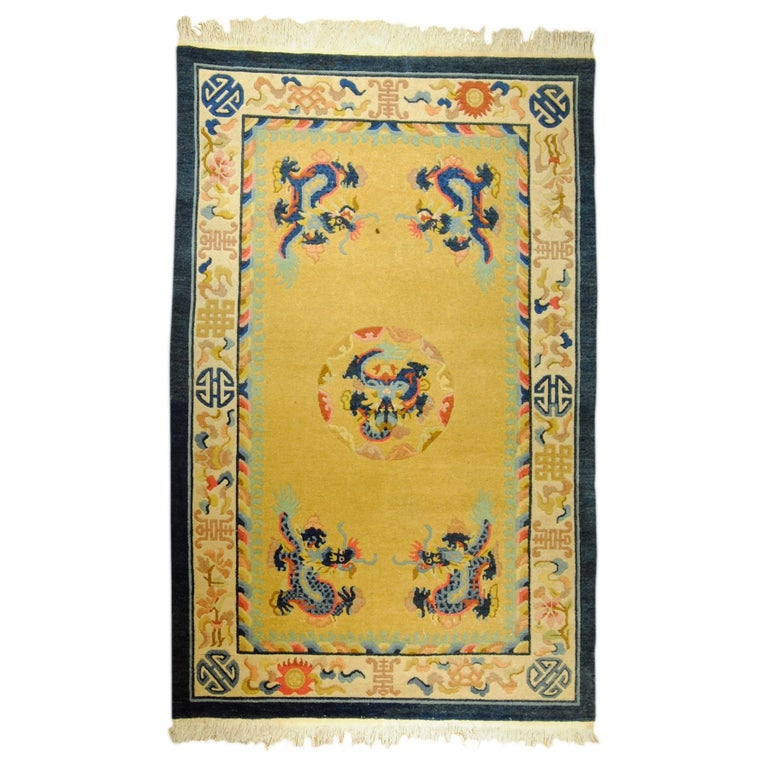 20th Century Yellow and Blue Wool Hand Knotted Chinese Dragoons Rug For Sale