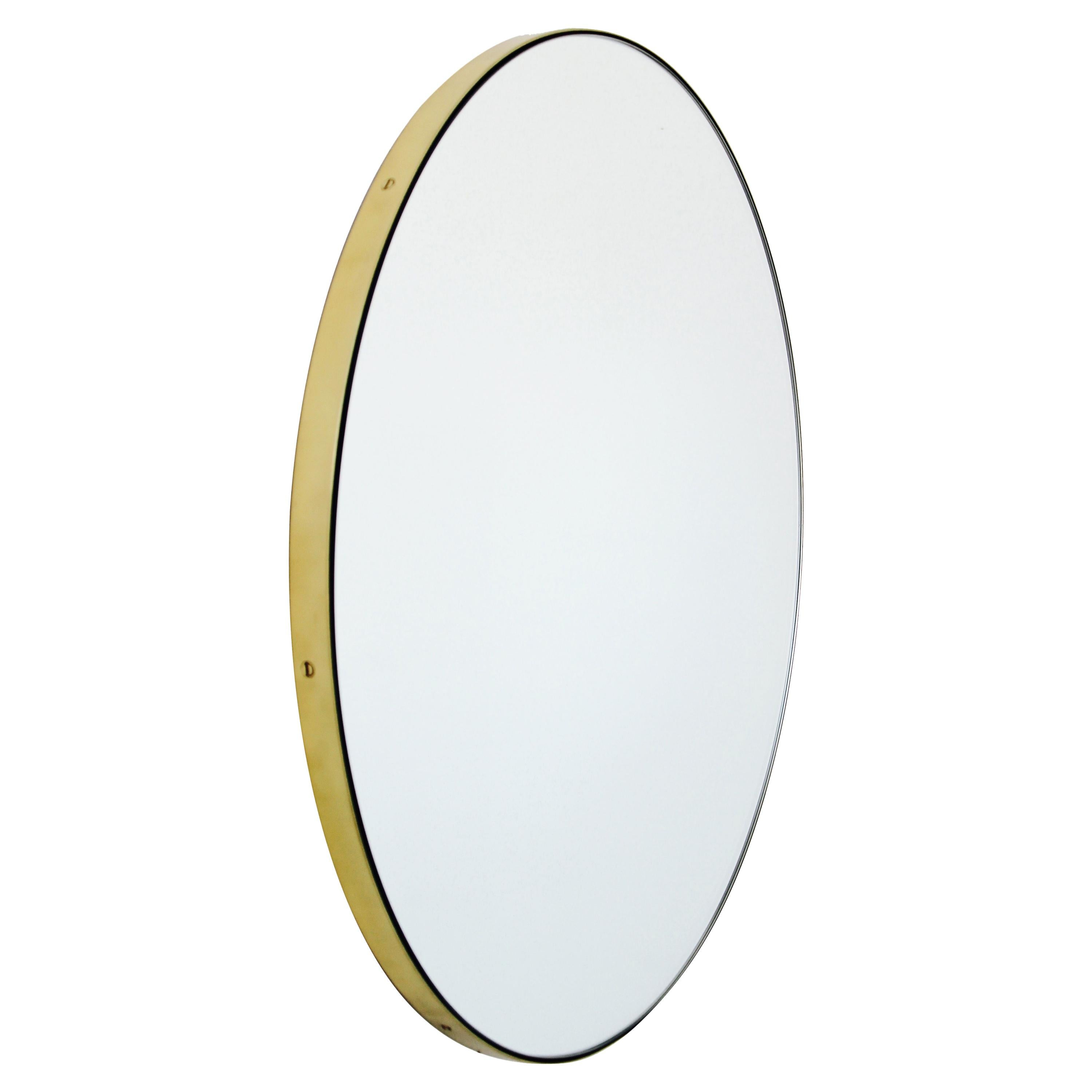 Orbis™ Round Elegant Handcrafted Mirror with Brass Frame - Extra Large