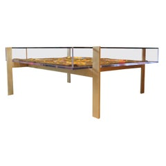 Custom Modern Lucite and Glass Square Coffee Table