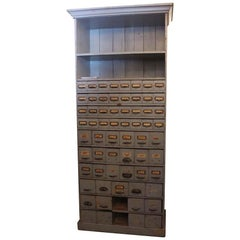 1910s Apothecary Cabinet with 63 Drawers and 2 Shelves and Chalkboard