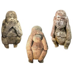 Set of Three Stone Sculptures Depicting Three Monkeys of Different Sizei