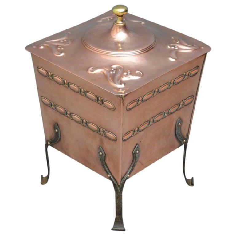 Arts & Crafts Copper Coal Bin For Sale
