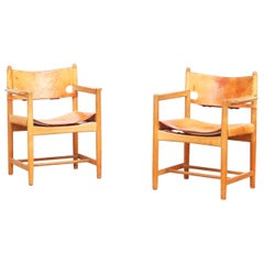 Set of Two Hunting Dining Chairs 3238 by Børge Mogensen for Fredericia Denmark