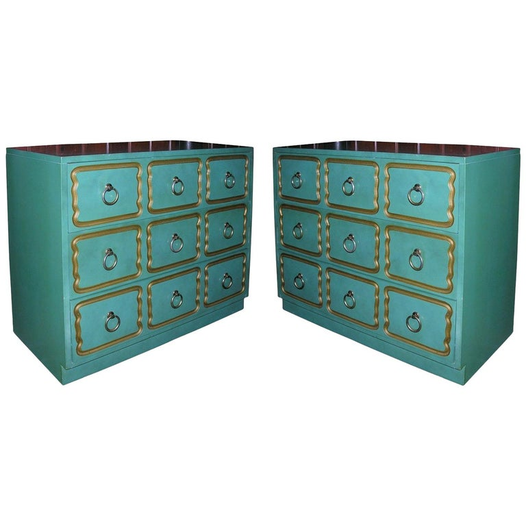 """Pair of Classic """"Espana"""" Chests Designed by Dorothy Draper For Sale"""