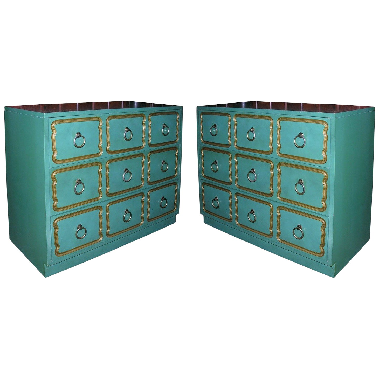 """Pair of Classic """"Espana"""" Chests in the Style of Dorothy Draper"""
