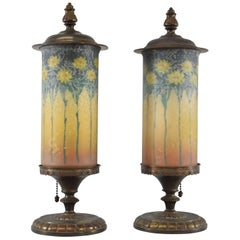 Pair of Signed Reverse Painted Mantel Lamps with Daisies