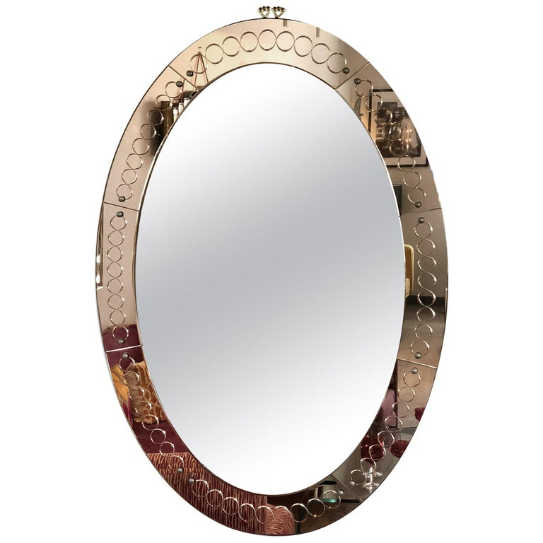 Large Mid-Century Modern, Oval Bronze Glass Mirror by Cristal Arte, Italy 1960s For Sale