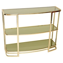 1970s Vintage Italian Brass Console Table or Bookcase