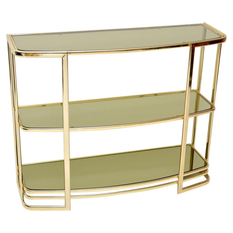 1970s Vintage Italian Brass Console Table or Bookcase For Sale