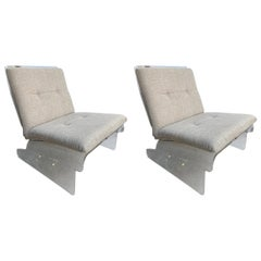 Pair of Lucite Slipper Armchairs by Baumann, Germany, 1970s