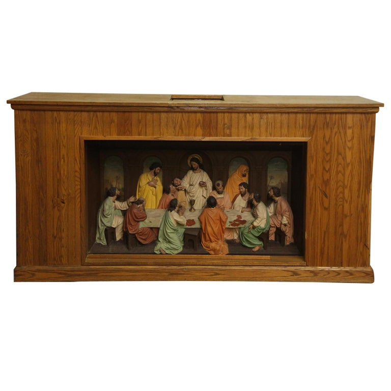 1960s Unique Oak and Highly Detailed Gesso Last Supper Altar Piece from NYC For Sale