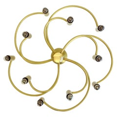 Large Midcentury Sputnik Brass Flush Light Pendant, Sciolari Gio Ponti Era