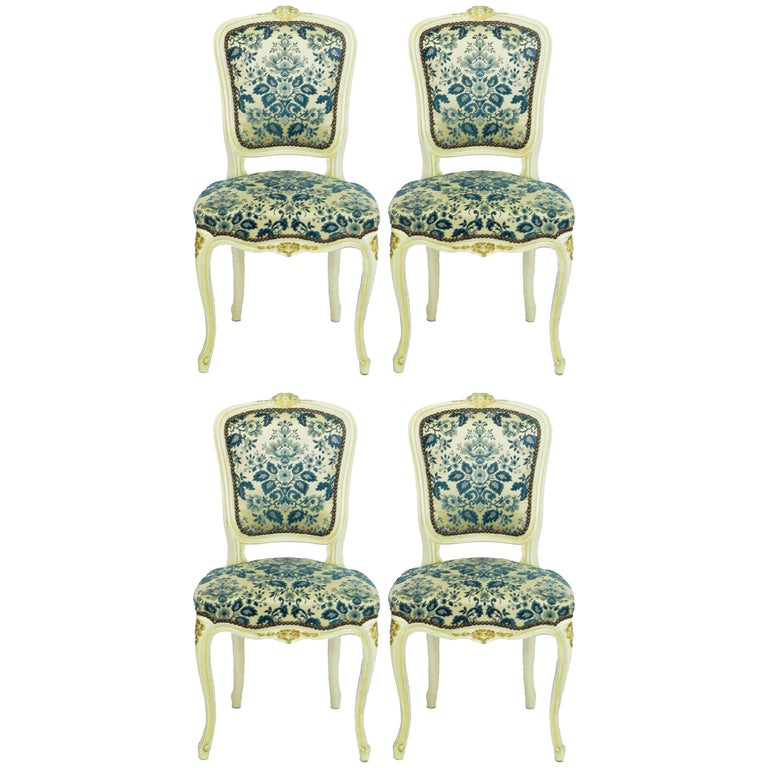 Four Louis Style Dining Chairs French Upholstered Vintage, Early 20th Century For Sale