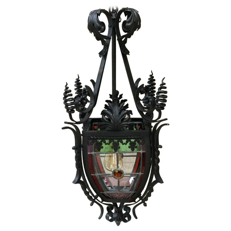 French Iron Neo-Gothic Lantern with Stained Glass, circa 1880 For Sale