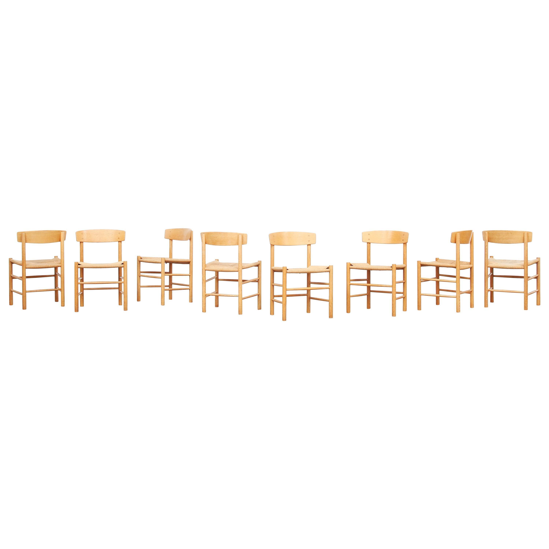 Set of 8 Danish Oak Dining Chairs by Børge Mogensen for Fredericia J39, Denmark