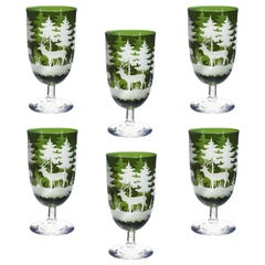 Set of Six Wine Goblets Green Crystal Hunting Decor Sofina Boutique Kitzbuehel