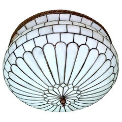 English Leaded Glass Pendant Fixture
