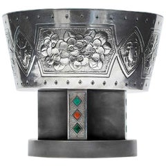 Japanese Sterling Silver Centerpiece Pedestal Bowl by Hattori Kintaro