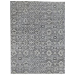 Silver and Grey Indian Wool Area Rug
