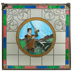 Vintage Fishing Stained Glass Window 1993 from the Mansfield Bar