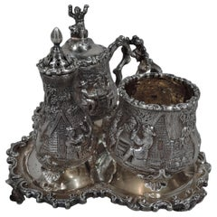 Antique English Sterling Silver Pastoral Condiment Set by George Fox