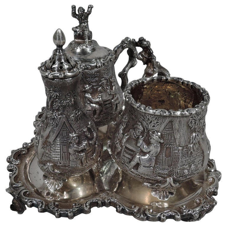 Antique English Sterling Silver Pastoral Condiment Set by George Fox For Sale