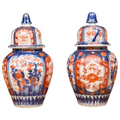 19th Century Pair of Diminutive Imari Lidded Urns