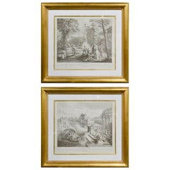 Pair of French Engraving by A. Watteau